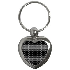 Brick1 Black Marble & White Leather (r) Key Chains (heart)