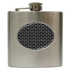Brick1 Black Marble & White Leather (r) Hip Flask (6 Oz)