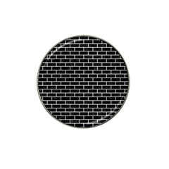 Brick1 Black Marble & White Leather (r) Hat Clip Ball Marker