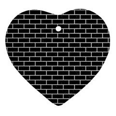 Brick1 Black Marble & White Leather (r) Heart Ornament (two Sides)