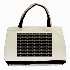 Brick1 Black Marble & White Leather (r) Basic Tote Bag (two Sides)