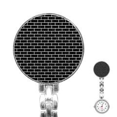 Brick1 Black Marble & White Leather (r) Stainless Steel Nurses Watch