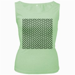 Brick2 Black Marble & White Leather Women s Green Tank Top