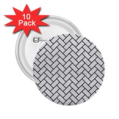 Brick2 Black Marble & White Leather 2 25  Buttons (10 Pack)