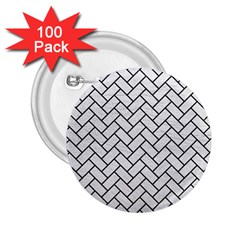 Brick2 Black Marble & White Leather 2 25  Buttons (100 Pack)