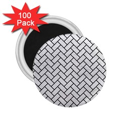 Brick2 Black Marble & White Leather 2 25  Magnets (100 Pack)