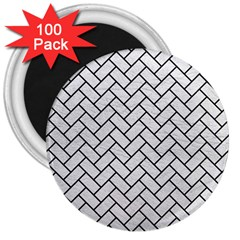 Brick2 Black Marble & White Leather 3  Magnets (100 Pack)
