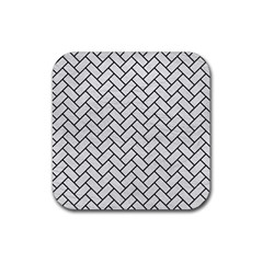 Brick2 Black Marble & White Leather Rubber Square Coaster (4 Pack)