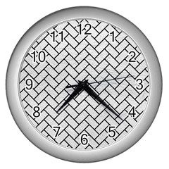 Brick2 Black Marble & White Leather Wall Clocks (silver)