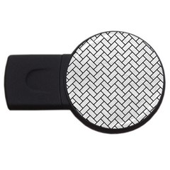 Brick2 Black Marble & White Leather Usb Flash Drive Round (2 Gb)
