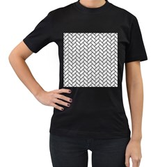 Brick2 Black Marble & White Leather Women s T Shirt (black) (two Sided)