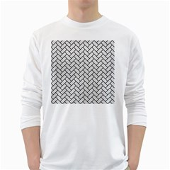 Brick2 Black Marble & White Leather White Long Sleeve T Shirts