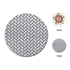 Brick2 Black Marble & White Leather Playing Cards (round)