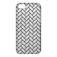 Brick2 Black Marble & White Leather Apple Iphone 5c Hardshell Case