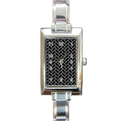 Brick2 Black Marble & White Leather (r) Rectangle Italian Charm Watch