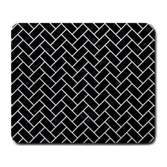Brick2 Black Marble & White Leather (r) Large Mousepads
