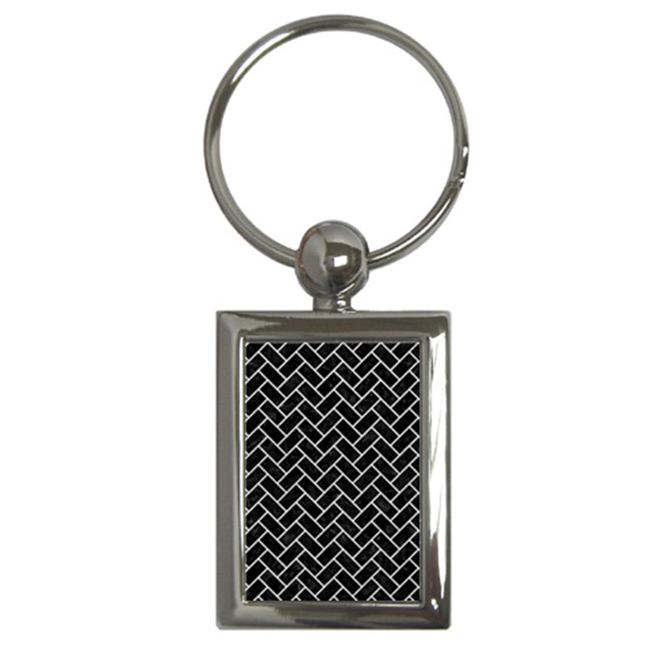 BRICK2 BLACK MARBLE & WHITE LEATHER (R) Key Chains (Rectangle)