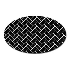 Brick2 Black Marble & White Leather (r) Oval Magnet