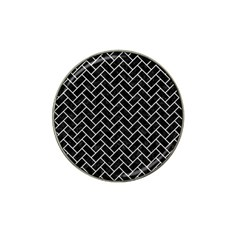 Brick2 Black Marble & White Leather (r) Hat Clip Ball Marker