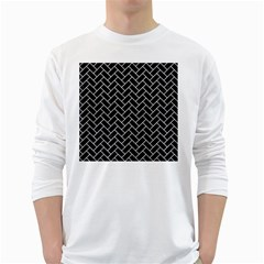 Brick2 Black Marble & White Leather (r) White Long Sleeve T Shirts