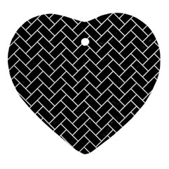 Brick2 Black Marble & White Leather (r) Heart Ornament (two Sides)