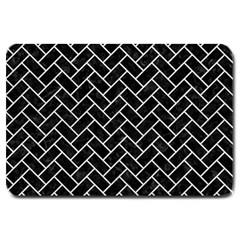 Brick2 Black Marble & White Leather (r) Large Doormat