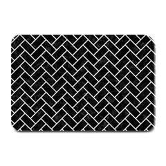 Brick2 Black Marble & White Leather (r) Plate Mats
