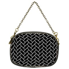 Brick2 Black Marble & White Leather (r) Chain Purses (one Side)