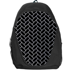Brick2 Black Marble & White Leather (r) Backpack Bag