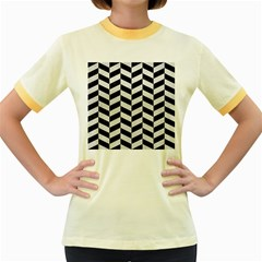 Chevron1 Black Marble & White Leather Women s Fitted Ringer T Shirts