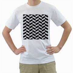 Chevron1 Black Marble & White Leather Men s T Shirt (white) (two Sided)