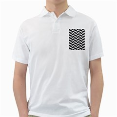 Chevron1 Black Marble & White Leather Golf Shirts