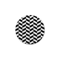 Chevron1 Black Marble & White Leather Golf Ball Marker (10 Pack)