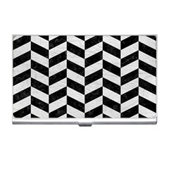 Chevron1 Black Marble & White Leather Business Card Holders