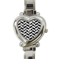 Chevron1 Black Marble & White Leather Heart Italian Charm Watch