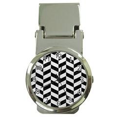 Chevron1 Black Marble & White Leather Money Clip Watches