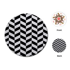 Chevron1 Black Marble & White Leather Playing Cards (round)