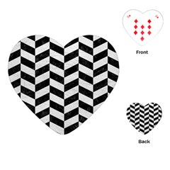 Chevron1 Black Marble & White Leather Playing Cards (heart)