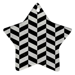 Chevron1 Black Marble & White Leather Star Ornament (two Sides)