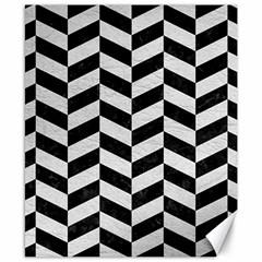 Chevron1 Black Marble & White Leather Canvas 8  X 10