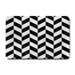 Chevron1 Black Marble & White Leather Small Doormat