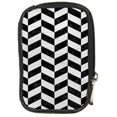 Chevron1 Black Marble & White Leather Compact Camera Cases