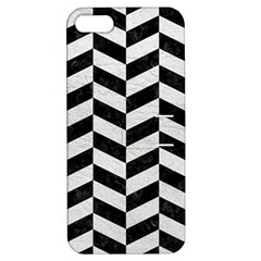 Chevron1 Black Marble & White Leather Apple Iphone 5 Hardshell Case With Stand