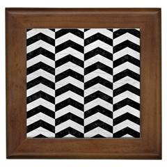 Chevron2 Black Marble & White Leather Framed Tiles