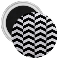 Chevron2 Black Marble & White Leather 3  Magnets