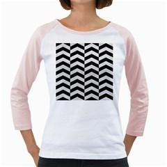 Chevron2 Black Marble & White Leather Girly Raglans