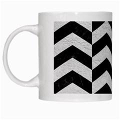 Chevron2 Black Marble & White Leather White Mugs