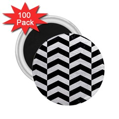 Chevron2 Black Marble & White Leather 2 25  Magnets (100 Pack)