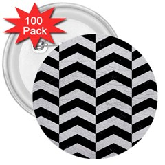 Chevron2 Black Marble & White Leather 3  Buttons (100 Pack)