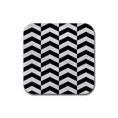 Chevron2 Black Marble & White Leather Rubber Square Coaster (4 Pack)